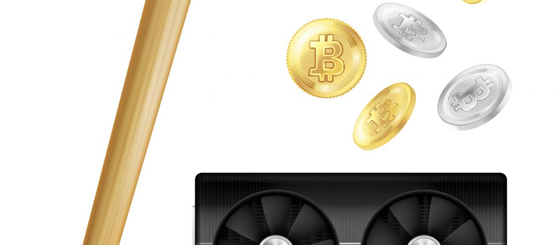Crypto currency mining realistic icons with pick, golden and silver bitcoins, computer hardware isolated vector illustration